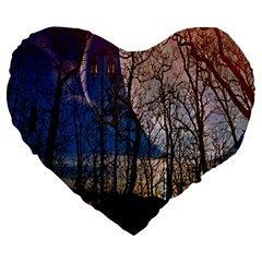 Full Moon Forest Night Darkness Large 19  Premium Flano Heart Shape Cushions