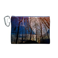 Full Moon Forest Night Darkness Canvas Cosmetic Bag (M)