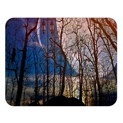 Full Moon Forest Night Darkness Double Sided Flano Blanket (Large)