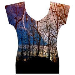Full Moon Forest Night Darkness Women s V-Neck Cap Sleeve Top