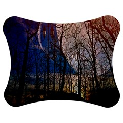 Full Moon Forest Night Darkness Jigsaw Puzzle Photo Stand (Bow)