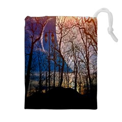 Full Moon Forest Night Darkness Drawstring Pouches (Extra Large)