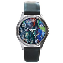 Graffiti Art Urban Design Paint  Round Metal Watch