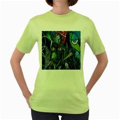 Graffiti Art Urban Design Paint  Women s Green T-Shirt