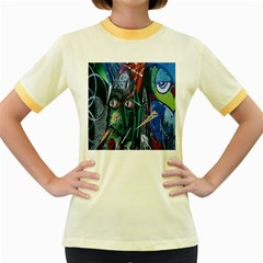 Graffiti Art Urban Design Paint  Women s Fitted Ringer T-Shirts