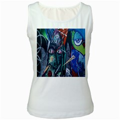 Graffiti Art Urban Design Paint  Women s White Tank Top