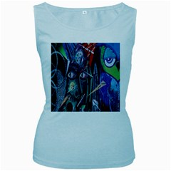 Graffiti Art Urban Design Paint  Women s Baby Blue Tank Top