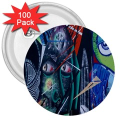 Graffiti Art Urban Design Paint  3  Buttons (100 pack)