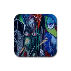 Graffiti Art Urban Design Paint  Rubber Coaster (Square)