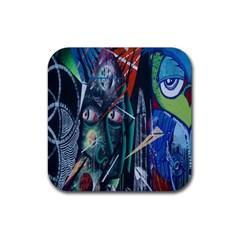Graffiti Art Urban Design Paint  Rubber Square Coaster (4 pack)
