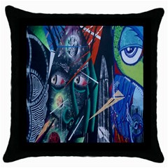 Graffiti Art Urban Design Paint  Throw Pillow Case (Black)