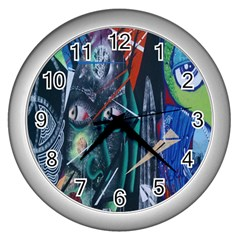 Graffiti Art Urban Design Paint  Wall Clocks (Silver)