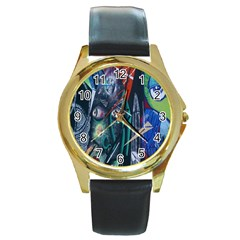 Graffiti Art Urban Design Paint  Round Gold Metal Watch