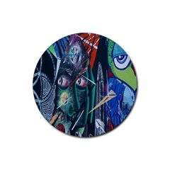 Graffiti Art Urban Design Paint  Rubber Coaster (Round)