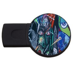 Graffiti Art Urban Design Paint  USB Flash Drive Round (2 GB)