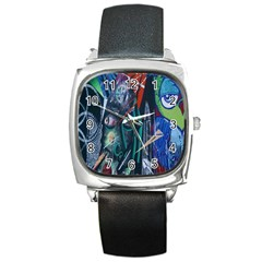 Graffiti Art Urban Design Paint  Square Metal Watch