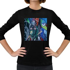 Graffiti Art Urban Design Paint  Women s Long Sleeve Dark T-Shirts