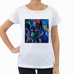 Graffiti Art Urban Design Paint  Women s Loose-Fit T-Shirt (White)