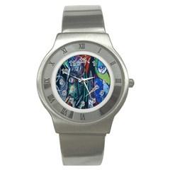 Graffiti Art Urban Design Paint  Stainless Steel Watch