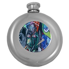 Graffiti Art Urban Design Paint  Round Hip Flask (5 oz)