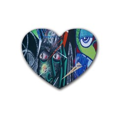 Graffiti Art Urban Design Paint  Rubber Coaster (Heart)