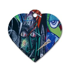 Graffiti Art Urban Design Paint  Dog Tag Heart (Two Sides)