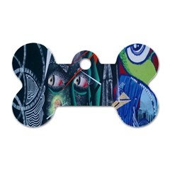 Graffiti Art Urban Design Paint  Dog Tag Bone (Two Sides)