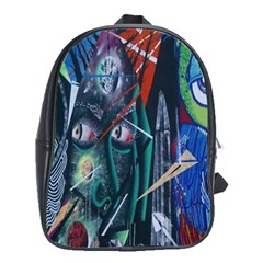 Graffiti Art Urban Design Paint  School Bags(Large)
