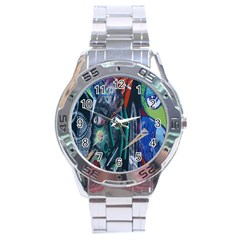 Graffiti Art Urban Design Paint  Stainless Steel Analogue Watch