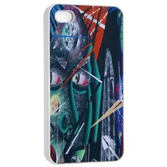 Graffiti Art Urban Design Paint  Apple iPhone 4/4s Seamless Case (White)