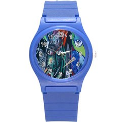 Graffiti Art Urban Design Paint  Round Plastic Sport Watch (S)