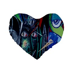Graffiti Art Urban Design Paint  Standard 16  Premium Heart Shape Cushions