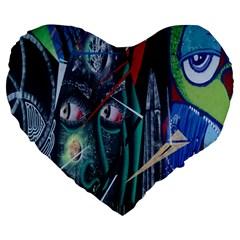 Graffiti Art Urban Design Paint  Large 19  Premium Heart Shape Cushions