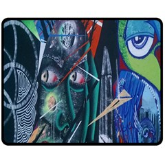 Graffiti Art Urban Design Paint  Double Sided Fleece Blanket (Medium)