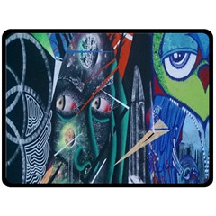 Graffiti Art Urban Design Paint  Double Sided Fleece Blanket (Large)