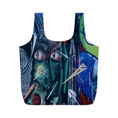 Graffiti Art Urban Design Paint  Full Print Recycle Bags (M)