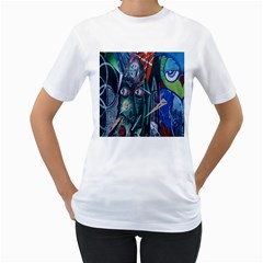 Graffiti Art Urban Design Paint  Women s T-Shirt (White)