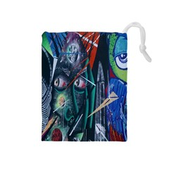 Graffiti Art Urban Design Paint  Drawstring Pouches (Medium)