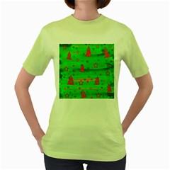 Green Xmas magic Women s Green T-Shirt