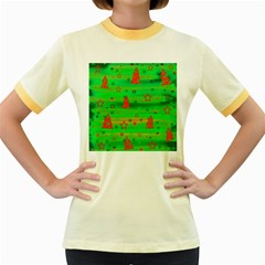 Green Xmas magic Women s Fitted Ringer T-Shirts