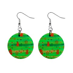 Green Xmas magic Mini Button Earrings