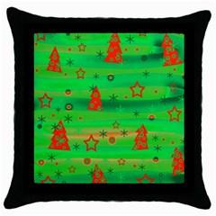 Green Xmas magic Throw Pillow Case (Black)