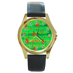 Green Xmas magic Round Gold Metal Watch
