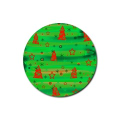 Green Xmas magic Rubber Round Coaster (4 pack)