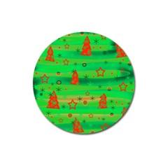 Green Xmas magic Magnet 3  (Round)