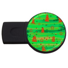 Green Xmas magic USB Flash Drive Round (1 GB)