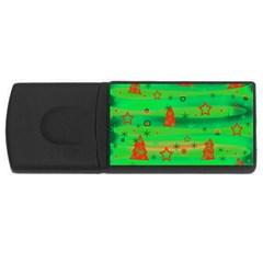 Green Xmas magic USB Flash Drive Rectangular (2 GB)