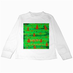Green Xmas magic Kids Long Sleeve T-Shirts