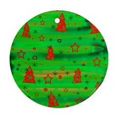 Green Xmas magic Round Ornament (Two Sides)