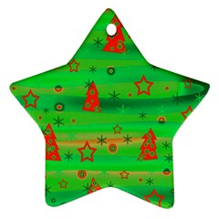 Green Xmas magic Star Ornament (Two Sides)